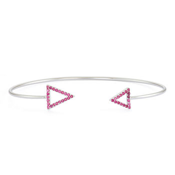 Simulated Ruby Sterling Silver Open Arrow Bangle Bracelet