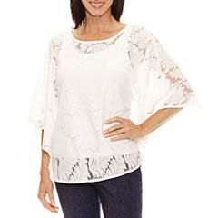 Lark Lane Elbow Sleeve Scoop Neck Lace Blouse