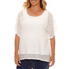Lark Lane Braziliant Short Sleeve Scoop Neck T-Shirt-Womens Plus