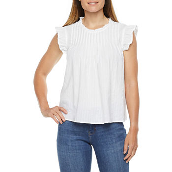 a.n.a-Tall Womens Round Neck Sleeveless Blouse