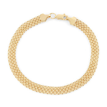 10K Gold 8 Inch Hollow Link Chain Bracelet