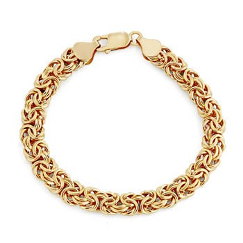 10K Gold 8 Inch Hollow Byzantine Chain Bracelet