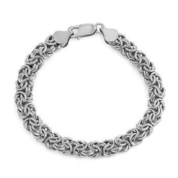 10K White Gold 8 Inch Hollow Byzantine Chain Bracelet