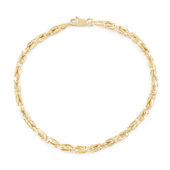 10K Gold 7.25 Inch Hollow Byzantine Chain Bracelet