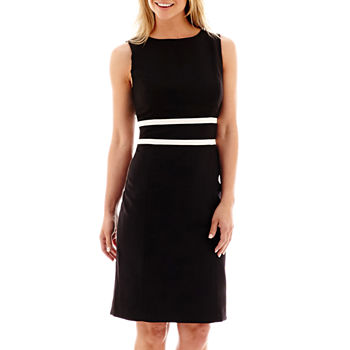 Black Label by Evan-Picone Sleeveless Contrast-Trim Sheath Dress