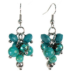 Aris by Treska Blue Silver-Tone Cluster Earrings
