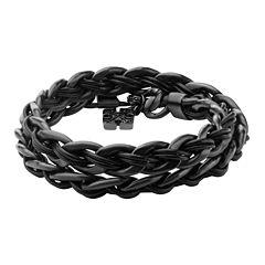 Inox® Jewelry Mens Stainless Steel & Black IP Leather Cross Charm Bracelet