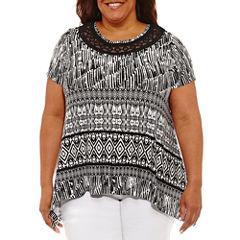 Lark Lane Modern Knits Short Sleeve Scoop Neck T-Shirt-Womens Plus