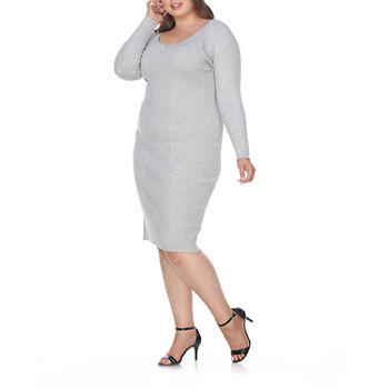 White Mark-Plus Long Sleeve Bodycon Dress