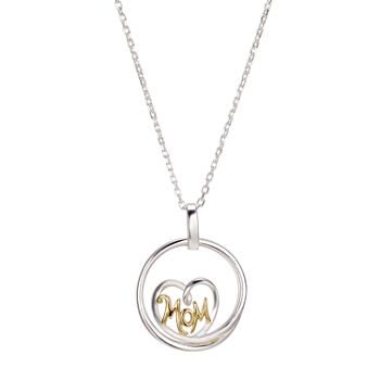 Footnotes Mom Heart Sterling Silver 16 Inch Pendant Necklace