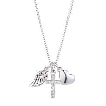 Footnotes Faith Cubic Zirconia Sterling Silver 16 Inch Link Cross Pendant Necklace