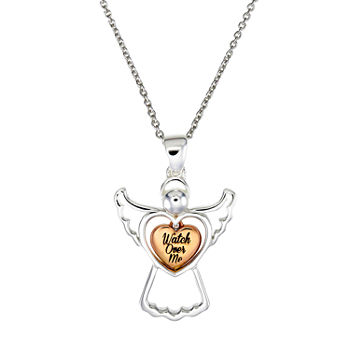 Footnotes Angel Sterling Silver 16 Inch Link Heart Pendant Necklace