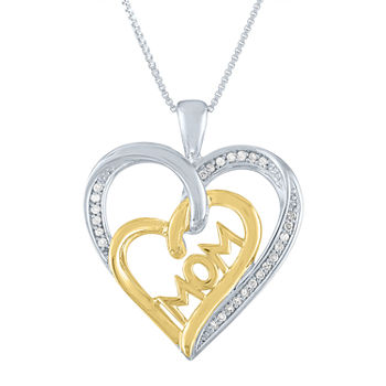 "'Limited Edition! ""Mom"" Womens 1/10 CT. T.W. Genuine White Diamond 14K Gold Over Silver 14K Rose Gold Over Silver Heart Pendant Necklace"