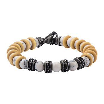 Inox® Jewelry Mens White Howlite Bead, Stainless Steel & Black IP Bracelet