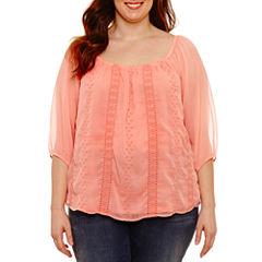 Boutique + 3/4 Sleeve Crochet Peasant Top Plus