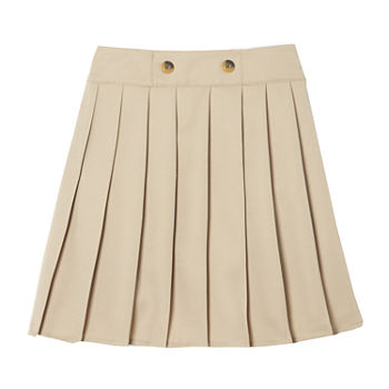 IZOD Front Button Pleated Scooter Little & Big Girls Elastic Waist Scooter Skirt