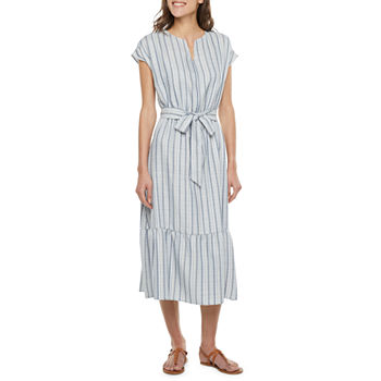 Studio 1 Short Sleeve Striped Fit & Flare Dress