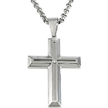 Mens Stainless Steel Diamond-Accent Cross Pendant Necklace