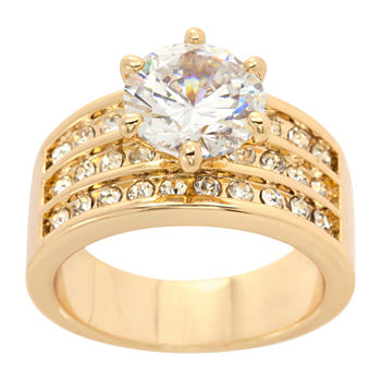 Sparkle Allure Cubic Zirconia 14K Gold Over Brass Cocktail Ring