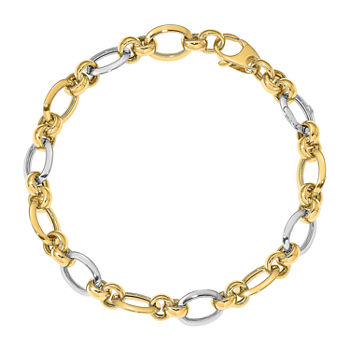 14K Two Tone Gold 7 3/4 Inch Hollow Link Bracelet