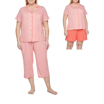 Liz Claiborne Womens 3-pc. Capri Pajama Set Short Sleeve