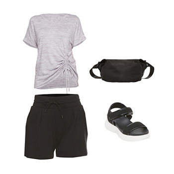 Side Note:Stylus Cinched Top, High-Rise Shorts & Sandals