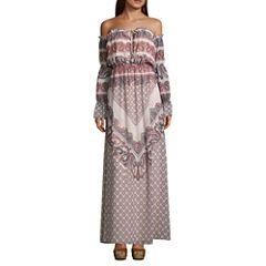 As U Wish Long Sleeve Paisley Maxi Dress-Juniors