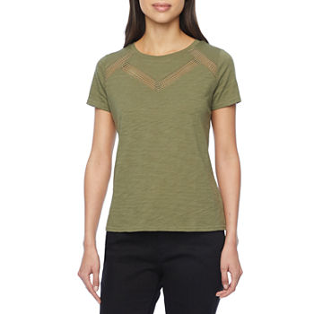 Liz Claiborne Womens Tall Crew Neck Short Sleeve T-Shirt