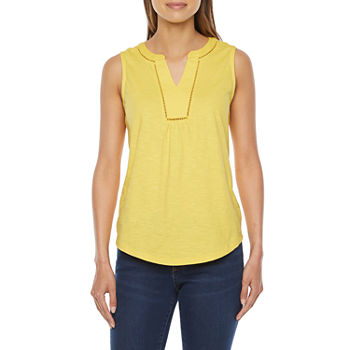 St. John's Bay Tall Womens Split Crew Neck Sleeveless Tank Top