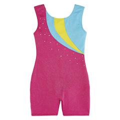 Jacques Morét® Sleeveless Rainbow Stars Solid Biketard - Girls