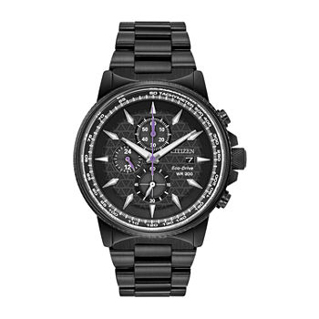 Citizen Marvel Marvel Mens Chronograph Black Stainless Steel Bracelet Watch - Ca0297-52w