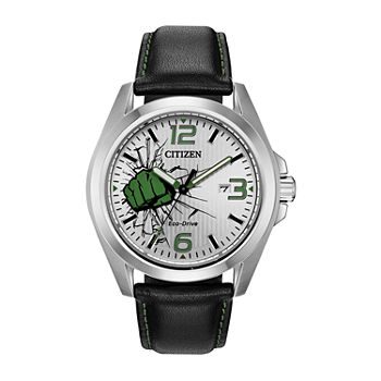 Citizen Marvel Hulk Mens Black Leather Strap Watch-Aw1431-24w