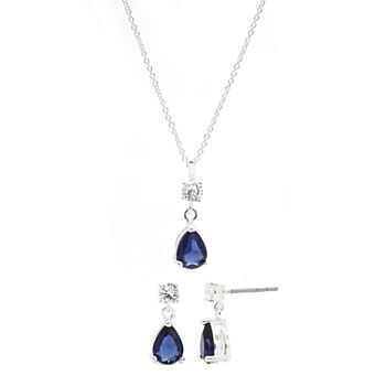 Sparkle Allure 2-pc. Pure Silver Over Brass Montana Pear Two Stone Cubic Zirconia Drop Jewelry Set