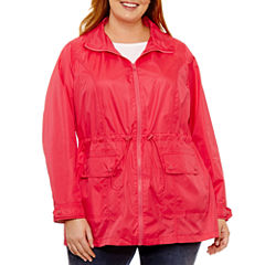 St. John's Bay Wind Resistant Water Resistant Raincoat-Plus