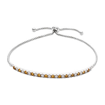 Genuine Yellow Citrine Sterling Silver Bolo Bracelet