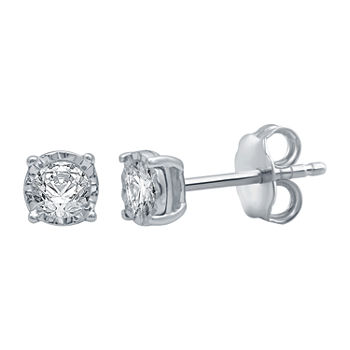 1/5 CT. T.W. Genuine White Diamond 10K White Gold 5.3mm Stud Earrings