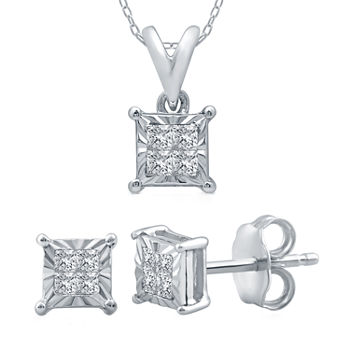 1/5 CT. T.W. Genuine White Diamond Sterling Silver 2-pc. Jewelry Set