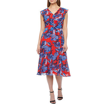 Dr Collection Short Sleeve Floral Fit & Flare Dress