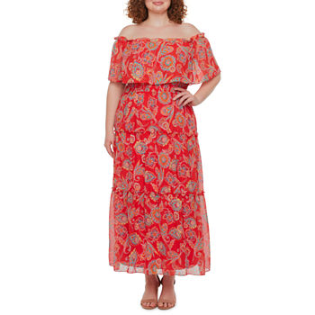 Rabbit Rabbit Rabbit Design-Plus Off The Shoulder Paisley Maxi Dress