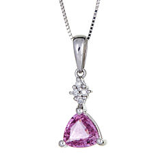 LIMITED QUANTITIES  Lab Created Pink Sapphire 14K White Gold Pendant
