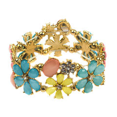 Decree® Multicolor Flower Gold-Tone Stretch Bracelet