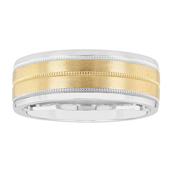 8MM 14K Gold Sterling Silver Wedding Band
