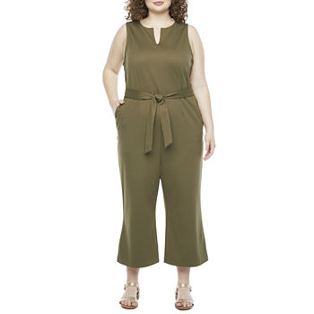 Liz Claiborne Womens Sleeveless Belted Jumpsuit - Plus