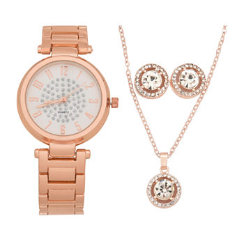 Mixit Womens Rose Goldtone 4-pc. Watch Boxed Set-Wac7240jc