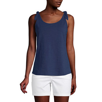 St. John's Bay Womens Round Neck Sleeveless Tank Top