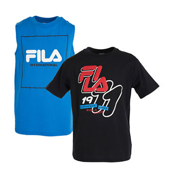 Fila 2pk Graphic Tee And Muscle 2-pc. Big Boys Crew Neck Short Sleeve Shirt Sets
