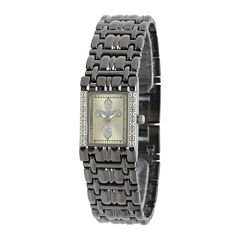 Personalized Womens Diamond-Accent Rectangular Black Cross Bracelet Watch