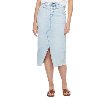a.n.a Womens Mid Rise High Low Denim Skirt