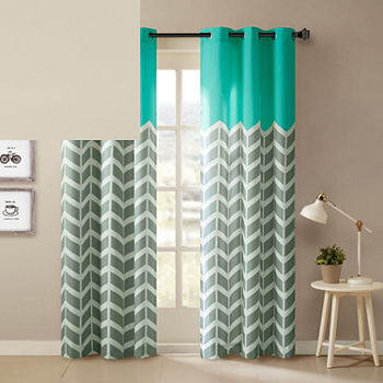 Intelligent Design Rayna Chevron Energy Saving Light-Filtering Grommet-Top Set of 2 Curtain Panel