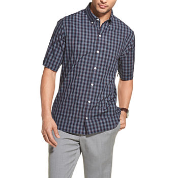 14c061384a Van Heusen Never Tuck Mens Short Sleeve Button-Front Shirt Slim
